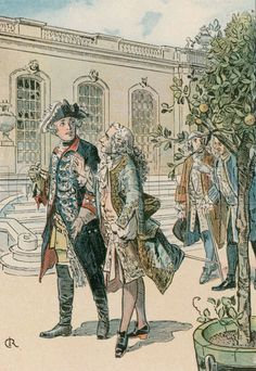 Frederick the Great (1712-1786) in conversation with the French philosopher, Voltaire (1694-1778). Illustration from House of Hohenzollern in Pictures and Words by Carl Rohling and Richard Sternfeld. Published by Martin Oldenbourg in Berlin, c 1900.