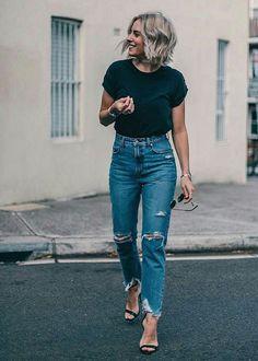 50 Best Outfits to Wear Vintage High Waisted Jeans in Style - Herren- und Damenmode - Kleidung Look Fashion, Autumn Fashion, Fashion Outfits, Womens Fashion, Fashion Clothes, Trendy Fashion, Jeans Fashion, Spring Fashion, Ladies Fashion