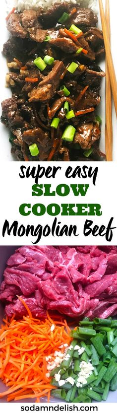 This easy slow cooker Mongolian beef is so simple to throw together. You've got flank steak, carrots, green onions, and spices that take center stage in this awesomely tasting slow cooker meal.