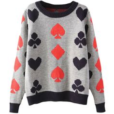 Blackfive Poker Pattern Jacquard Round Neck Jumper (535 ARS) ❤ liked on Polyvore featuring tops, sweaters, shirts, long jumper, patterned sweater, shirt sweater, jacquard shirt and round neck sweater