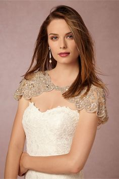 Embellished bridal capelet from BHLDN