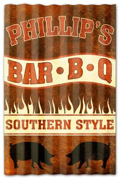 04b702a88f0a Vintage and Retro Tin Signs - JackandFriends.com - Phillips BBQ Corrugated  Rustic Barn Sign