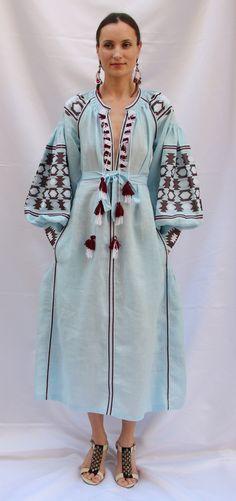 Light blue Vita Kin style linen vyshyvanka linen MIDI dress V neck frills burgundy white Embroidery. Sizes - XS-XXL MD046