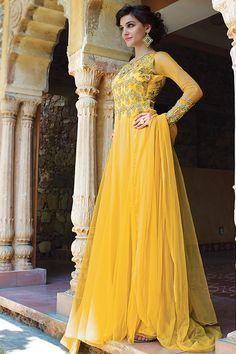 Yellow Anarkali Salwar Kameez Online From Easysarees