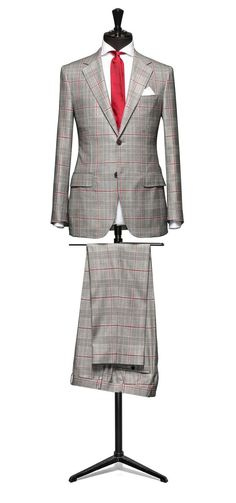 A sharp tonal checked suit. The bold red overcheck is a fantastic addition. Suit Up, Suit And Tie, Man Suit, Sharp Dressed Man, Well Dressed Men, Dress Suits, Men Dress, Suit Combinations, Suit Fabric