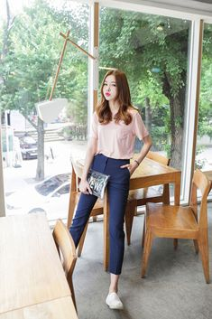 pastel pink tshirt + formal long blue pants