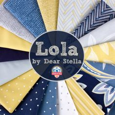 Lola by Dear Stella, available at Fat Quarter Shop! #quilting #sewing #fabric #yellow #blue #floral #dots #chevron