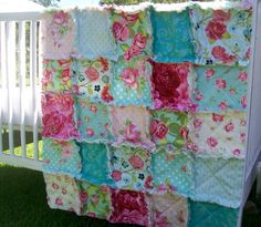 Crib Rag Quilt Bohemian Rose Pink AquaTurquoise Red by CottageDome