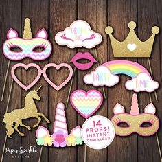 Unicorn props, Unicorn party props, Unicorn party, Unicorn birthday invitation, unicorn invitation, Unicorn costume, Unicorn headdress by PaperSparkleDesigns on Etsy https://www.etsy.com/listing/511933877/unicorn-props-unicorn-party-props