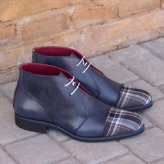 Handcrafted Custom Made Chukka Boots in Navy Blue Painted Calf Leather and Plaid Sartorial From Robert August. Create your own custom designed chukka boots. Custom Design Shoes, Fashionable Snow Boots, Wide Shoes, Desert Boots, Men S Shoes, Luxury Shoes, Calf Leather, Fashion Boots, Leather Sandals