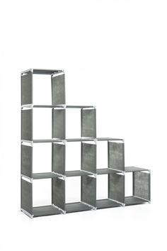 Steckregal mit 10 Ablagefächern (PP-Bezug)   ohne Werkzeug montierbar   Feuchtraumgeeignet   Wandbefestigung möglich   schöne Optik durch Alufarbige Stangen   Maße BxHxT: 146x148x36 cm