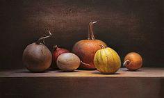 Stilleven met pompoenen, 75x45cm, 2011. Jos van Riswick