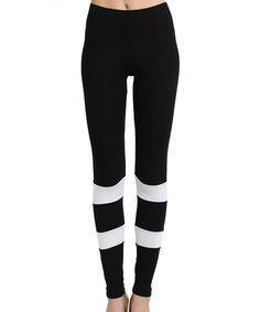 Look at this #zulilyfind! Black Stripe Leggings by funkitribe #zulilyfinds