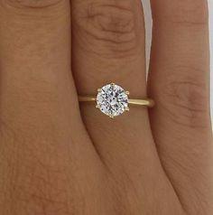 1.25 ct redondo diamante anillo mejorada VS2/H Oro Amarillo 14K