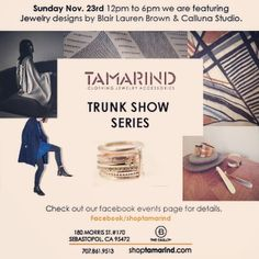 Jewelry from @callunastudio and Blair Lauren Brown. #winecountry #shopping #jewelry #event #trunkshow (at shoptamarind) https://www.facebook.com/events/1494827594113144/