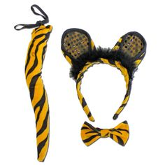 Fancy Dress Costume Accessory - Tiger Ears With Bow Tie And Tail Fancy Dress Accessories, Costume Accessories, Childrens Fancy Dress, Next Dresses, Tigger, Ears, Bow, Costumes, Disney Characters