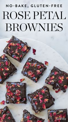 No-Bake, Gluten-Free Rose Petal Brownies via @PureWow