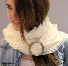 Fluffy Scarf, white scarf, Boho Scarf with a gold circle buckle, winter white scarf, Ruffled Women's Fashion scarf, Cozy scarf, long scarf.