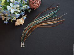 Серьги с перьями - Утопия, полосатый, бирюзовый, коричневый - серьги с перьями, серьги с перьями нарядные