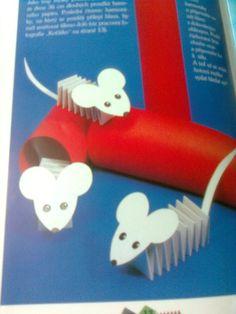 Myšky ze skládaného papíru. Tělíčko je poskládané ze dvou pruhů papíru.