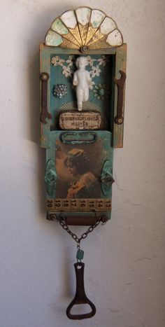 There is a string attached to the back for hanging. Total length of this pc including the hanging parts is about by wide and about deep. Shadow Box Kunst, Shadow Box Art, Found Object Art, Found Art, Assemblage Kunst, Recycled Art, Upcycled Crafts, Religious Art, Altered Art