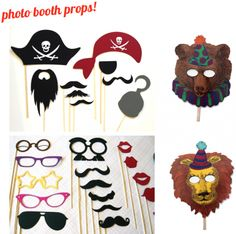 Photo booth props. I don't know about the creepy bear and lion, but I like all the other props!