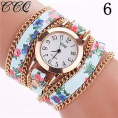 1b682313b43 CCQ Flower Leather Bracelet Watches Fashion Women Dress Watches Quartz  Watch Relojes Mujer Relogio Feminino Clock