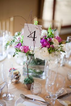 Purple and White Low Centerpieces