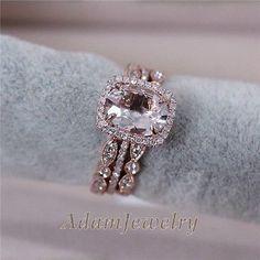 3 Rings Set - VS 7x9mm Pink Morganite Wedding Set Matching Band 14K Rose Gold