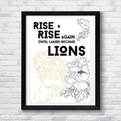 Motivational art, lion illustration, art print, digital art, printable, lambs become lions, inspirational art, poster Quote Art, Art Quotes, Inspirational Posters, Motivational, Lion Illustration, Roaring Lion, Last Minute Gifts, Lambs, Digital Art