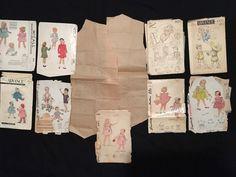 1940s Lot~10 childs Sewing Pattern Simplicity McCall Advance Dress Bonnet Coat