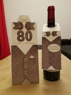 Karte und Flaschenanhänger - Geburtstag Although any bottle with Cabernet could possibly be the vintage Wine Bottle Tags, Wine Tags, Wine Bottle Crafts, Wine Bottles, Christmas Card Crafts, Fun Fold Cards, Card Making Inspiration, Card Tags, Gift Packaging