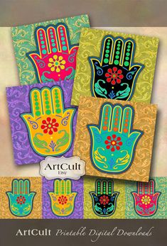 Printable Download HAMSA LUCKY AMULET Digital Collage Sheet 3.8x3.8 inch size images for Coasters Greeting cards Scrapbooking Gift tags
