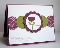 handmade greeting card from Julie's Stamping Spot ... clean and simple design ... punched circles form a band across the card ... purple and olive ... Stampin' Up!