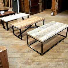 "Introducing our ""Combination Coffee Table Series""! Choose from a selection of ready-made reclaimed wood table tops and pair it with the metal base style of your choice. Finishing options are also available for both the top and base. Come in and check them out! #reclaimedwood #rusticdecor #interiordesign #reclaimed"