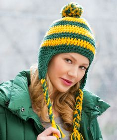 Team Cheers Earflap: Crochet this hat and let the world know which team is your team! In fact this easy pattern is great for the whole cheering section to wear! Designed by Nancy Smith, for RedHeart.