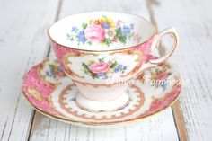 Tea Cup and Saucer Set, Antique English Bone China by Royal Albert, Lady Carlyle Pattern, Malvern Shape, Gifts for Her - 1944 by MariasFarmhouse on Etsy