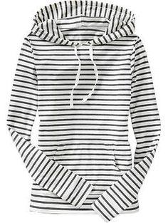 navy & white striped hoodie.