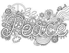 Free printable peace adult coloring page. Download it in PDF format at http://coloringgarden.com/download/peace-coloring-page/