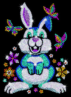 Create a sparking Sequin Art picture of Binky Bunny with this fantastic kit from Sequin Art, Ideal craft kit for ages Dot Painting, Painting Patterns, Hand Embroidery Designs, Beaded Embroidery, Binky Bunny, Dolphin Craft, African Drawings, Cristal Art, Sequin Crafts