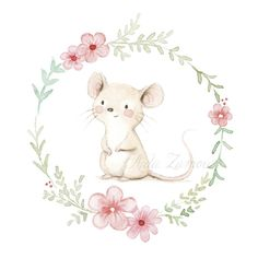 Watercolor baby mouse and flowers for baby shower cards, inviti battesimo, card segnagusto confetti Cute Animal Drawings, Animal Sketches, Cute Drawings, Maus Illustration, Illustrations, Illustrators On Instagram, Baby Art, Nursery Art, Cute Art