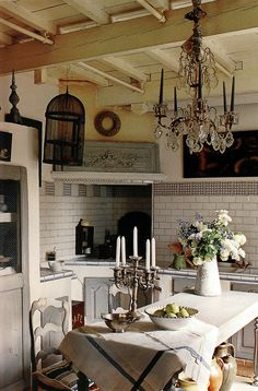 Love all the different elements in this kitchen