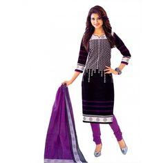 Cambric Cotton Black Churidar Suit Dress Material - 5490518