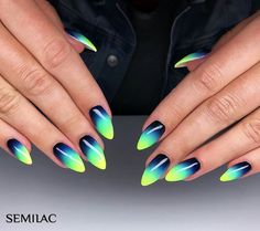 Gradient Nails Art Tutorial: How to Do Gradient Glitter Nails Bright Nails, Funky Nails, Gradient Nails, Cute Acrylic Nails, Stiletto Nails, Cute Nails, Stylish Nails, Trendy Nails, Ombre Nail Designs