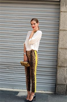 The Blonde Salad in bold leopard-print trousers