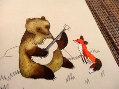 Bear & Fox Card by SophieCorriganShop on Etsy