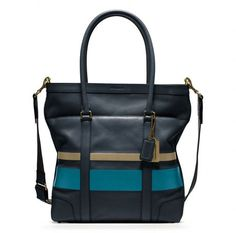 Coach Blue Bleecker Debossed Painted Stripe Tote! Got one for school!