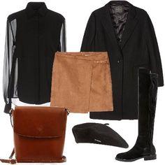 Camicia Roberto Cavalli con collo classico, gonna Cortefiel, stivali sopra al ginocchio in pelle e tessuto con punta tonda, giubbotto Roberto Verino, borsa a spalla in pelle, basco da donna.