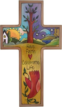 Cross Plaque – Have Faith/Celebrate Life cross plaque with sun and moon on the horizon with home motif Wooden Crosses, Crosses Decor, Painted Crosses, Wall Crosses, Painted Wood, Christian Images, Christian Art, Transfer Images To Wood, Tole Painting Patterns