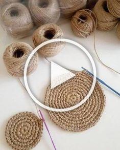 Home Decor - Hilo De Yute Ecológico Natu - Diy Crafts Diy Crafts To Sell, Diy Crafts For Kids, Home Crafts, Boho Crochet, Knit Or Crochet, Crochet Bags, Crochet Crafts, Knit Rug, Jute Rug